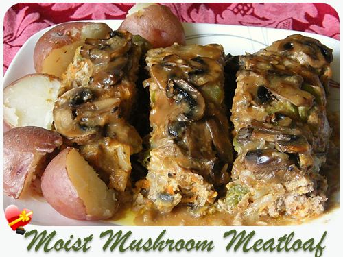 A family favorite moist mushroom meatloaf recipe. Loads of fresh mushrooms combined with mushroom soup and other favorite ingredients.