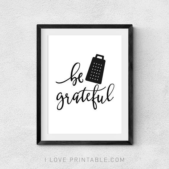 Be Grateful Kitchen Sign Digital Print Kitchen Decor Kitchen Wall Art Blessed Sign Be Grateful Wall Decor Printables Free Printable Wall Art Kitchen Wall Decor