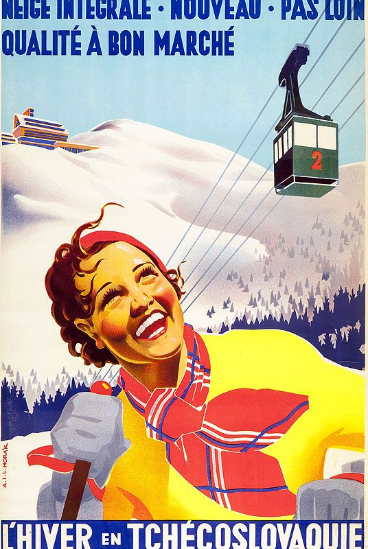 Vintage Ski Poster - L'Hiver Tchecoslovaquie  Date: 1948
