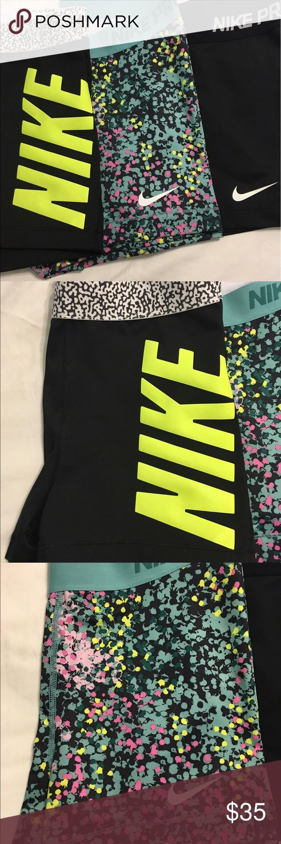 Nike Pro Women's Fitted Athletic Shorts 3 pair of barely worn (1-2 times) Nike Pro fitted athletic shorts.  Bundled.  No peeling of logos or built in tags. Non smoking home. Sold as bundle. Nike Shorts