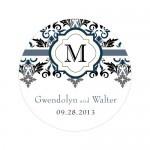 Wedding Stickers - Wedding Labels - Lavish Monogram Sticker Labels - LARGE - (7 Colors)