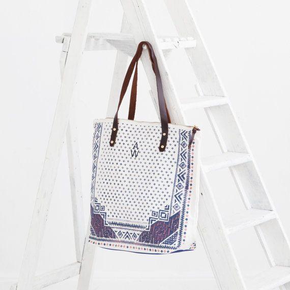 Schouder tas JENNA - Katoen - Tote Bag - Aquarel - Handtas - Uitstekende Kwaliteit - Echt Leer