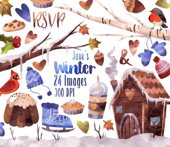 Watercolor Winter Clipart by DigitalArtsi on @creativemarket
