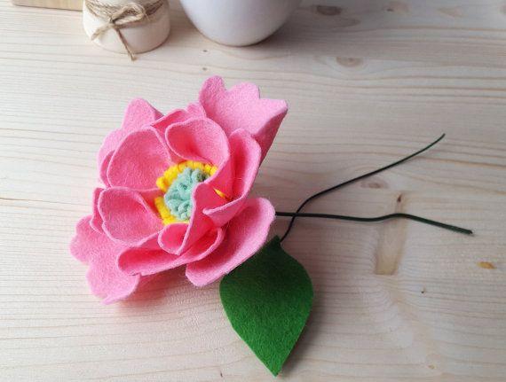 Peony bouquet - pink peony flower, felt peony, felt flowers, felt flower bouquet, peony favors, peony home decor, mini bouquet, pink peonies