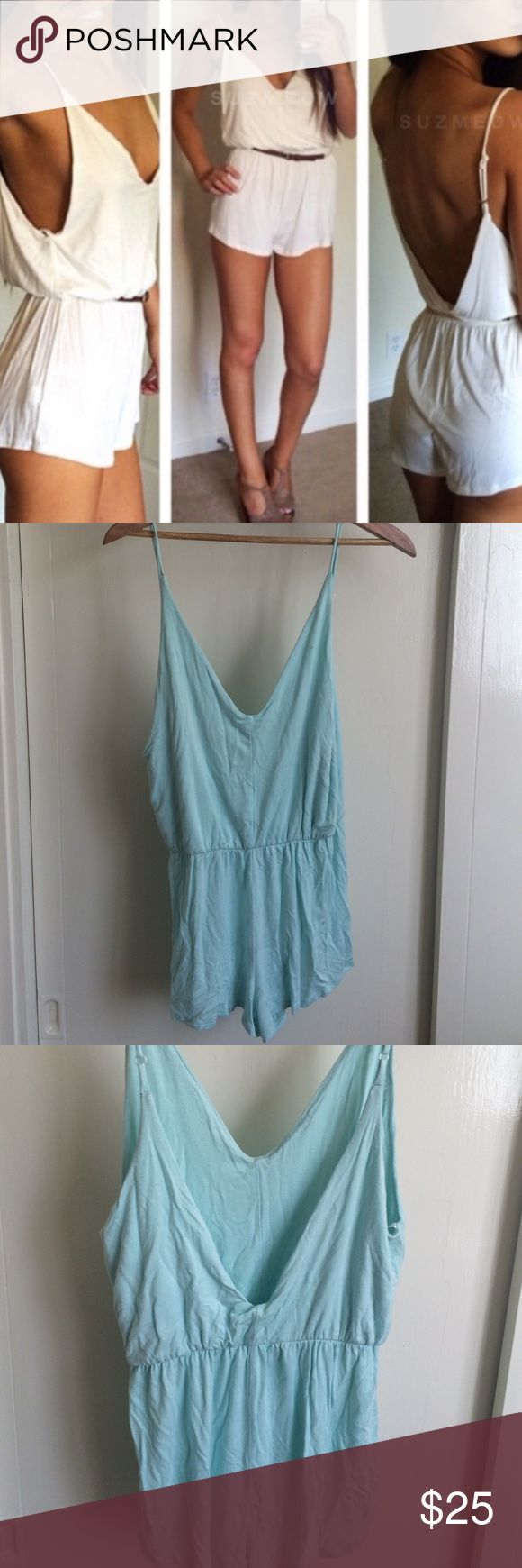 Aqua Cotton Romper Playsuit/jumpsuit. Light blue colored. It's the exact same as the white one in the features photo just a different color. Size M Missguided Pants Jumpsuits & Rompers