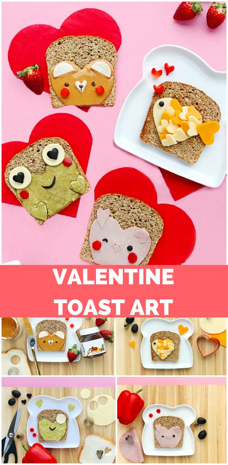 Heart Shaped Animal Toast Art. Cute Valentine's Day Food Snack or Treat for kids #valentinesday #kidsnack #cutefoods #valentinefood