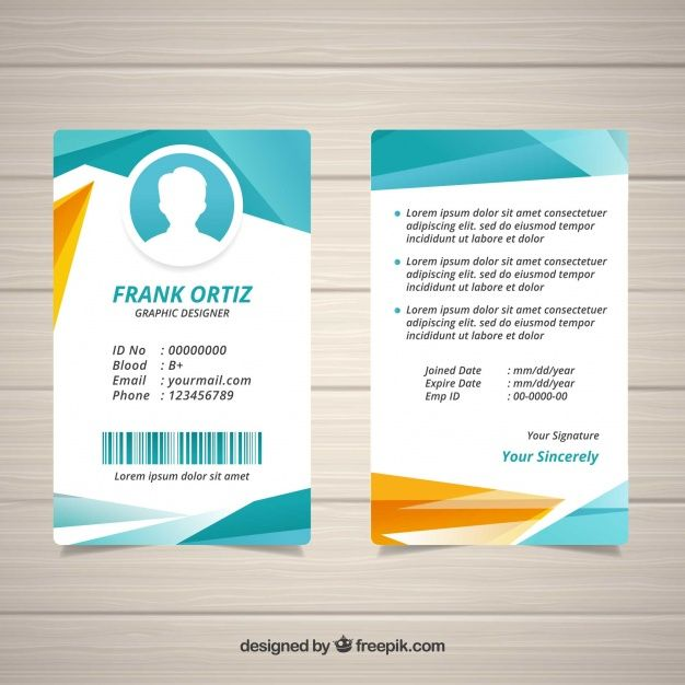 Download Abstract Id Card Template With Geometric Style For Free In 2020 Id Card Template Card Template Funny Business Cards