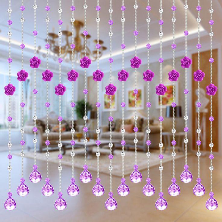 Luxo Rose Cristal Cortina frisada Campo Estilo cortinas da cozinha de cristal cortina da janela