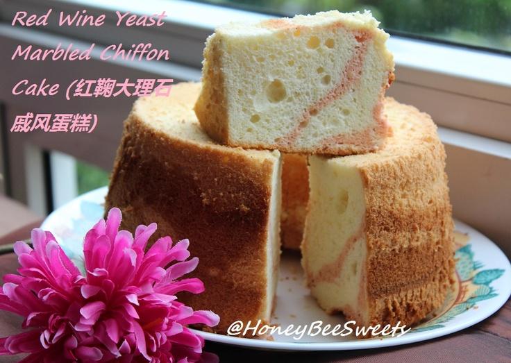 Red Wine Yeast Marbled Chiffon Cake