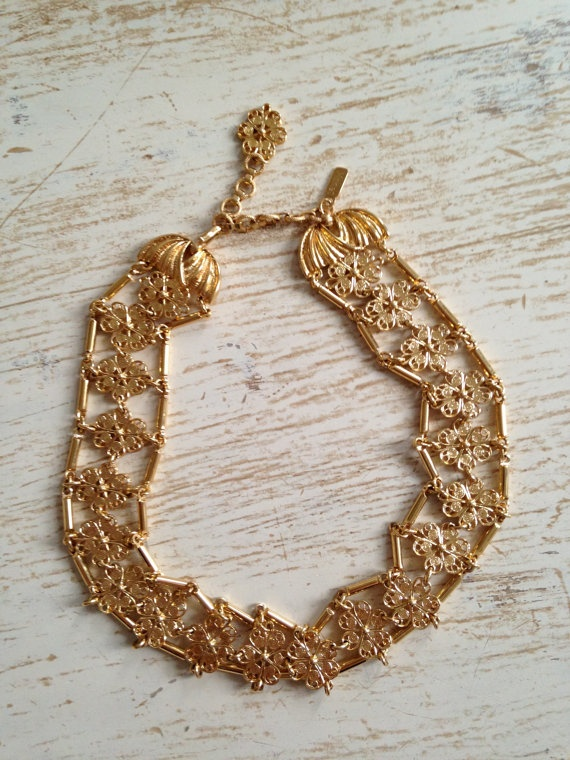 SALE Ladylike Classic Monet Brass Beaded by ValleyGreenVintage, $14.00 - SOLD