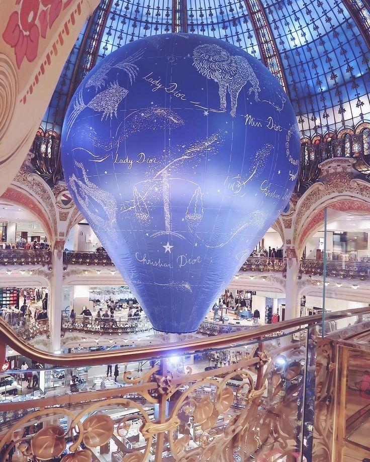 Follow me on Instagram @ofleatherandlace | Galerie Lafayette Dior Hot air balloon installation