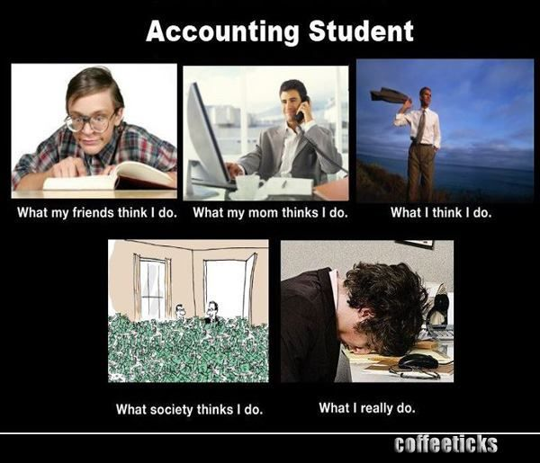 To all accounting majors!!! Actually I do all day, what my friends think I do. (Study all.day, every day)