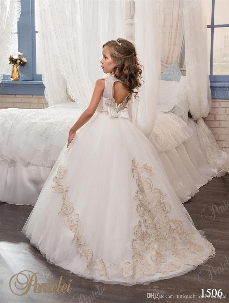Kids Prom Dresses 2017 Pentelei With Jewel Neck And Bows Appliques Tulle Ball Gown Flower Girls Gowns Keyhole Back And Floor Length Ivory Girls Dress Joan Calabrese Flower Girl Dresses From Uniquebridalboutique, $79.45| Dhgate.Com