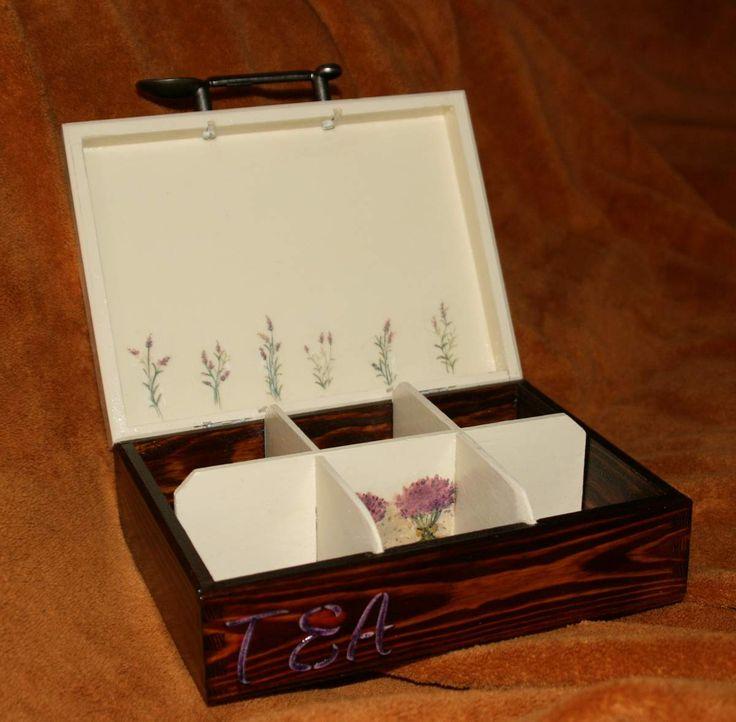 pudełko na herbatę decoupage - fajne wnętrze