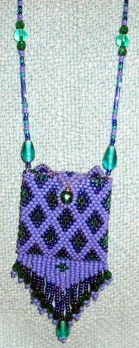 Purple, w/purple & teal green Amulet Bag Necklace