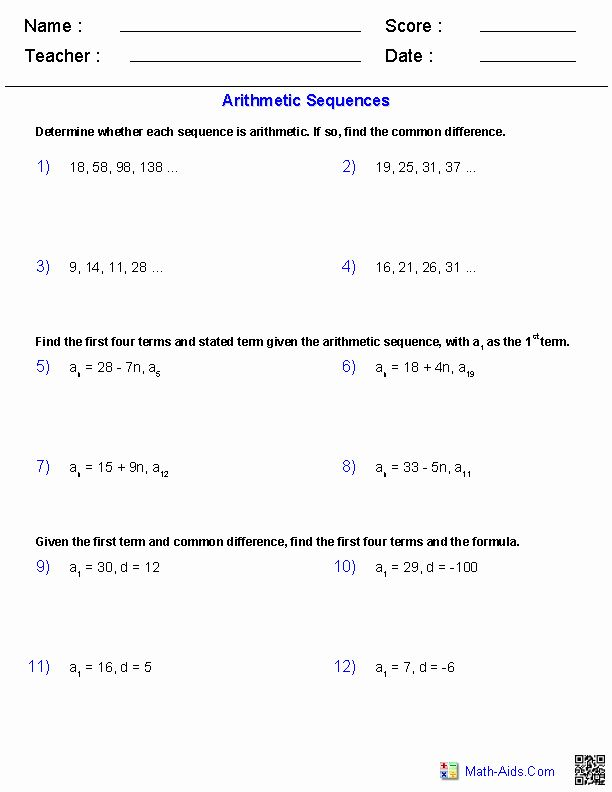 50 Arithmetic Sequences And Series Worksheet In 2020 Worksheet