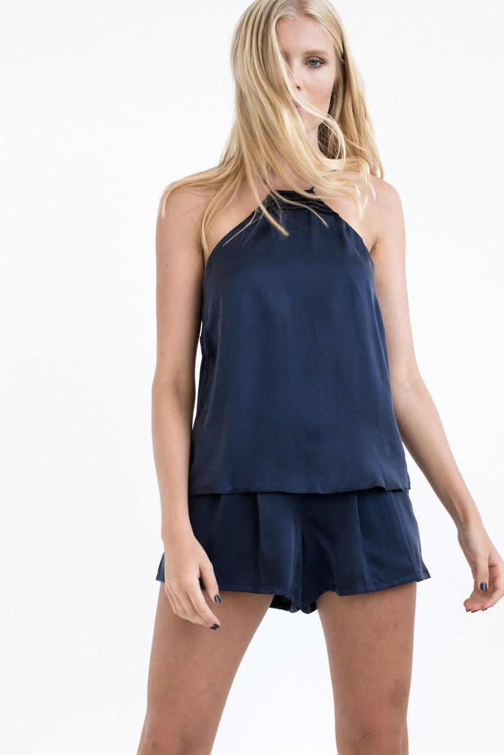 TWO PIECE SET: MIDNIGHT BLUE 2 in 1 CAMISOLE