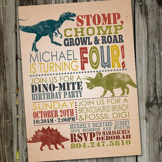 25 unique Dinosaur birthday invitations ideas – Dinosaur Party Invitation Wording