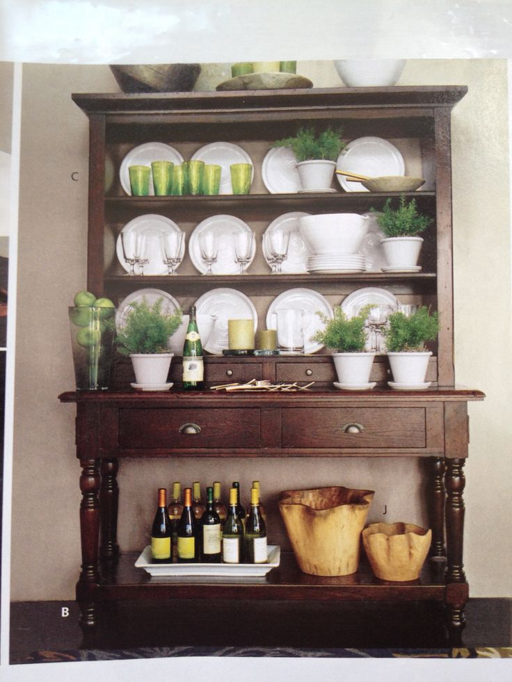 Dark Wood Hutch Accessories Green Dining Room