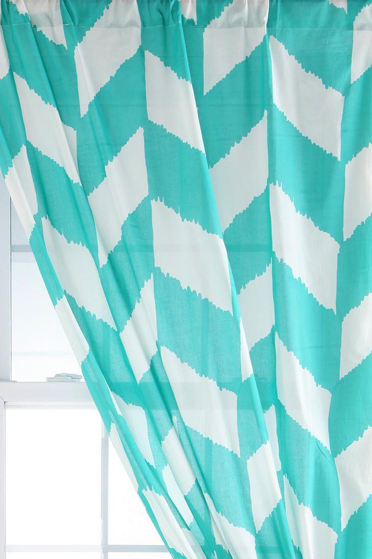 Aqua chevron shower curtain - Teal Chevron Shower Curtain Herringbone Curtain Urbanoutfitters I Love The Graphic Quality Of These