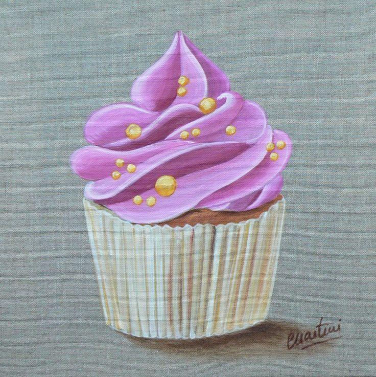 Tableau cupcake rose à la fraise : Peintures par catherine-martini