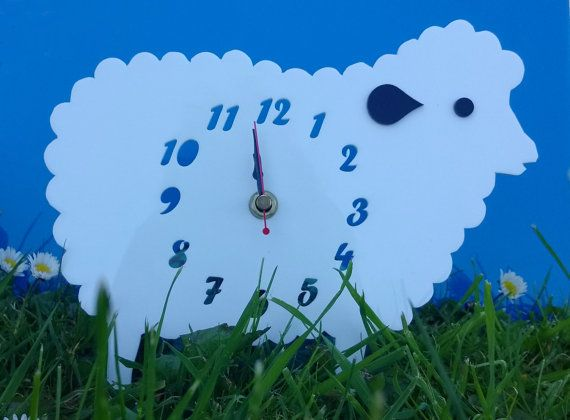 Handmade laser cut 'Baa-bra The Sheep' clock