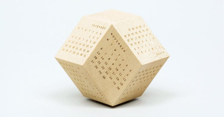 The DodeCal is a dodecahedron-shaped, Scandinavian-looking calendar made out of sycamore wood. $96