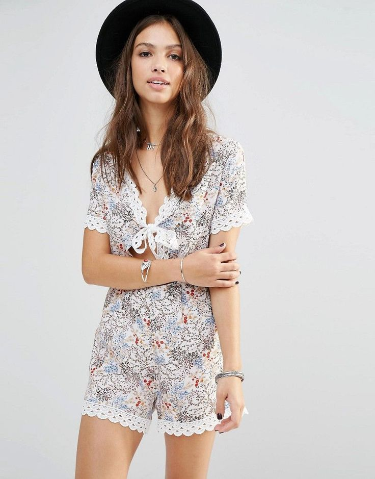 Image 1 of Young Bohemians Romper With Tie Front And Lace Trim Hems