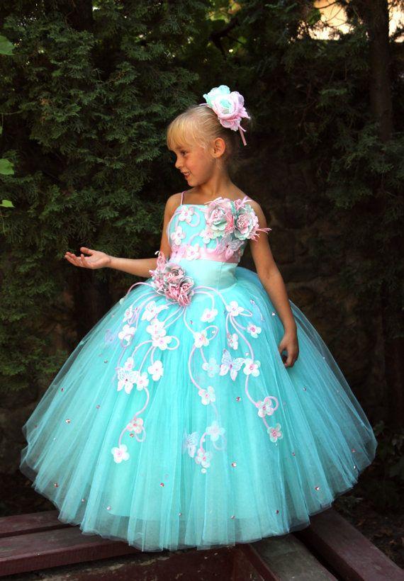 Mädchen-Geburtstags-Blumen Ferien Blauen  Weißes Orange Kleid