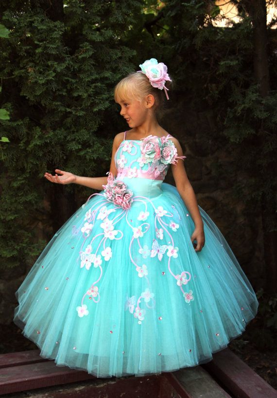 White Blue Orange Turquoise Flower Girls Dress por Butterflydressua