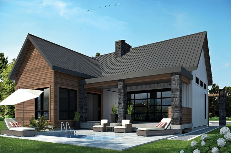 Contemporary Style House Plan - 2 Beds 1 Baths 1212 Sq/Ft Plan #23-2316 Exterior - Rear Elevation - Houseplans.com