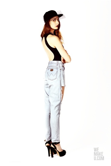 CORPO FRIDAY // PHOTOSHOOT // WEMAKEU.COM // http://wemakeu.com/2013/03/19/corpofriday006-2/  | #corpo #friday #black #blue #lightblue #heels #jeans #swimsuit #fullcap #ombre #hair #veil