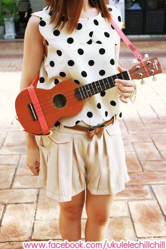 Ukulele Strap Dark Pink Color Handmade Design From by Artistaya4u