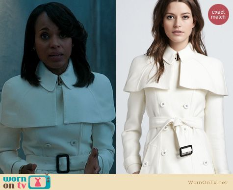 Olivia's white caped trench coat and white purse on Scandal. Outfit Details: http://wornontv.net/20040 #Scandal #ABC