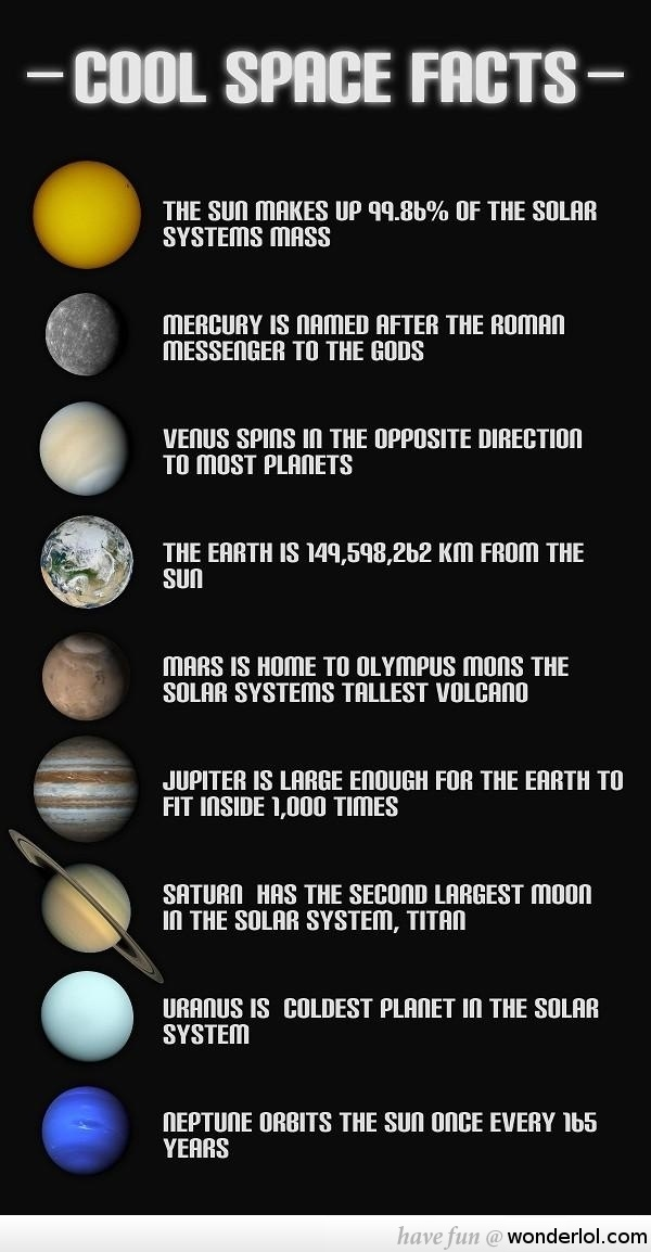 Really Cool Space Facts! But where the hell is Pluto! FAIL!!!