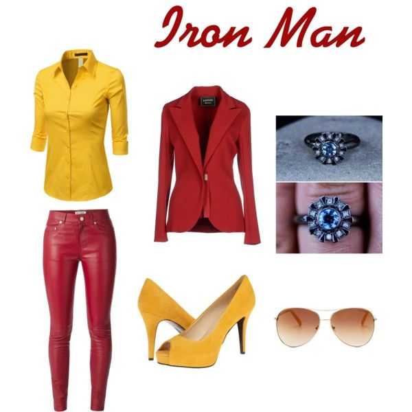 Iron Man inspired outfit  by wolfie112-99 on Polyvore featuring polyvore fashion style Doublju Lanvin Yves Saint Laurent Nine West Tommy Hilfiger Reactor