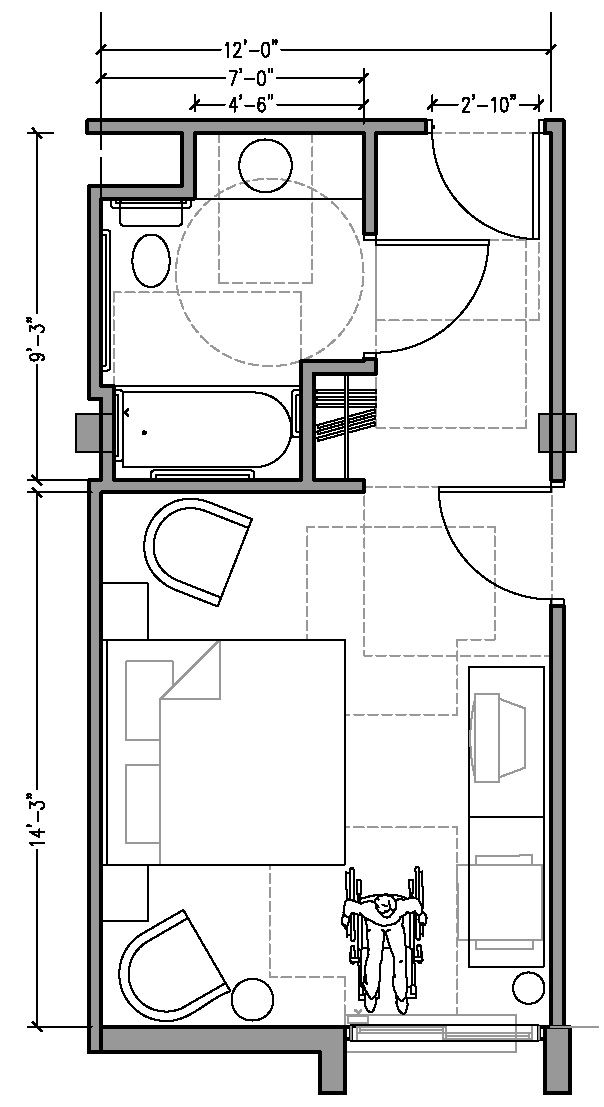 Standard Hotel Room: PLAN 3a: ACCESSIBLE 12 Ft Wide Hotel Room Based On 2004