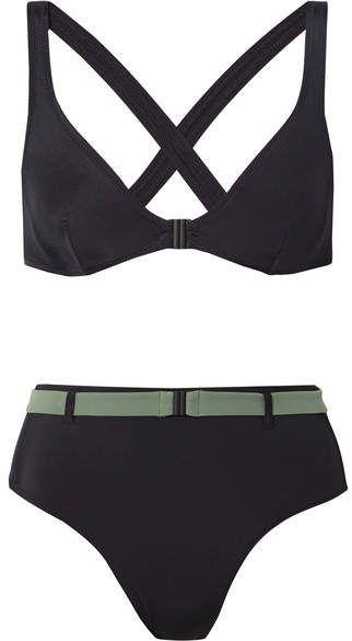 ceñido El de Josephine sólido negro bikini rayas y 15qwTZ