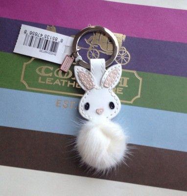 New Coach 92869 Patent Leather Mink Fur Bunny Rabbit Keychain Key Fob Keyring | eBay