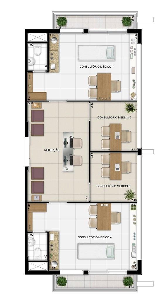 Oscar Freire Design Offices - Planta junção de 2 unidades.
