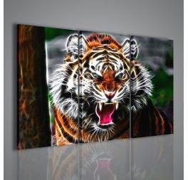 """L'arte del ritocco e della trasformazione delle immagini applicata su questa stampa: i tratti di una tigre ruggente sono stati trasformati e digitalizzati dando un aspetto surreale alla tigre. Per queste sue caratteristiche il quadro si presta ad essere utilizzato in contesti molto """"tecnologici""""."""