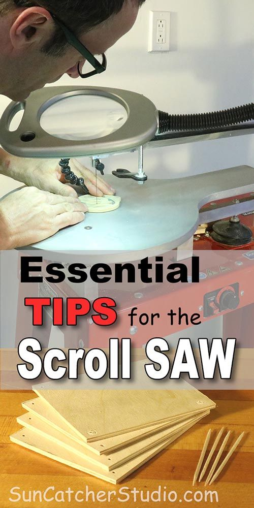Essential tips for the scroll saw - Intarsia, fretwork, puzzles, ornaments, clamps, pin plain blades, magnifying glasses, stack cutting, patterns, spray, adhesive, compound sawing.