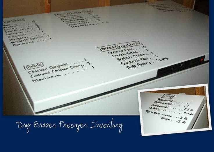 Using your Freezer to keep track of the inventory by using dry erase . I think wet erase would be better though. http://thehappyhousewife.com/home-management/dry-erase-freezer-inventory/
