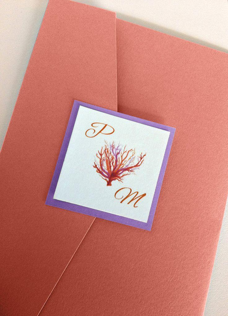 starfish wedding invitation kits%0A Beach Wedding Invitation Kit  Coral Wedding Invitation Pocketfold Set   Sea  Coral   Coral Purple
