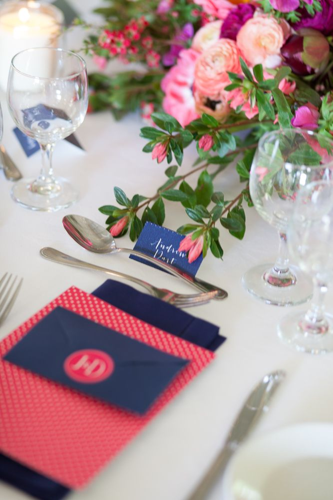 Get the look: the Interiors Addict guide to wedding styling Wedding, Jen Bishop, hot pink and navy, menu, placecard, polkadot, the story of us, monogram