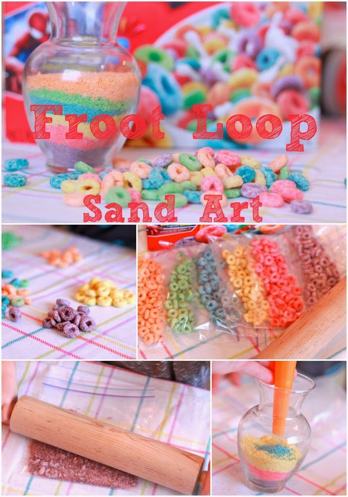 Froot Loop Sand Art! Great last minute craft for Easter with the kids. Each color represents a part of the Gospel!