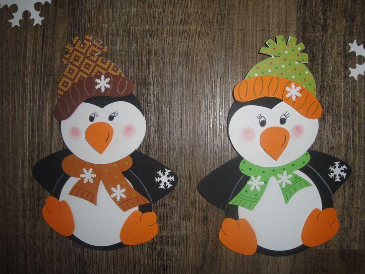 Tonkarton Fensterbilder 2 Pinguine mit Schneeflocken 7-teilig braun/grün • EUR 7,99 - PicClick DE