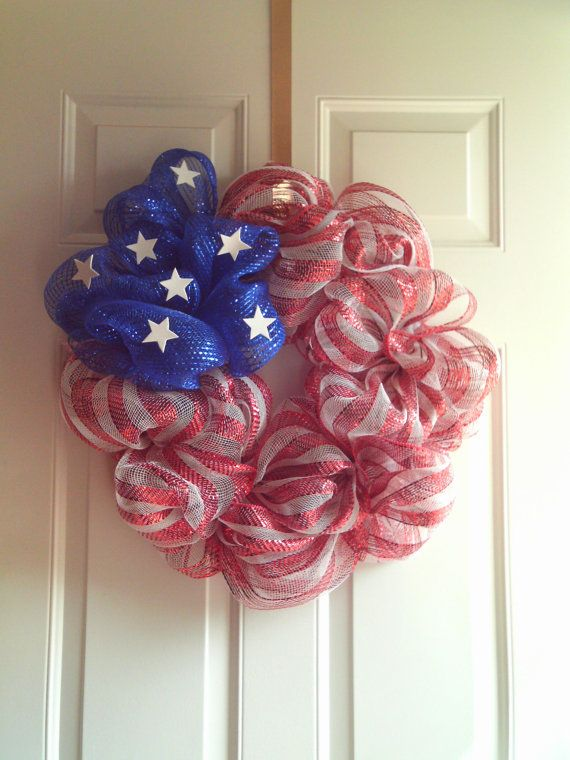 Patriotic Mesh Wreath by imaproudcrafter on Etsy, $42.00