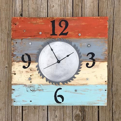 Saw Blade Clock for Dad -- Remember Dad this Father's Day with a workshop clock.  #decoartprojects #decoart #madeformakers #americanaacrylics #americana