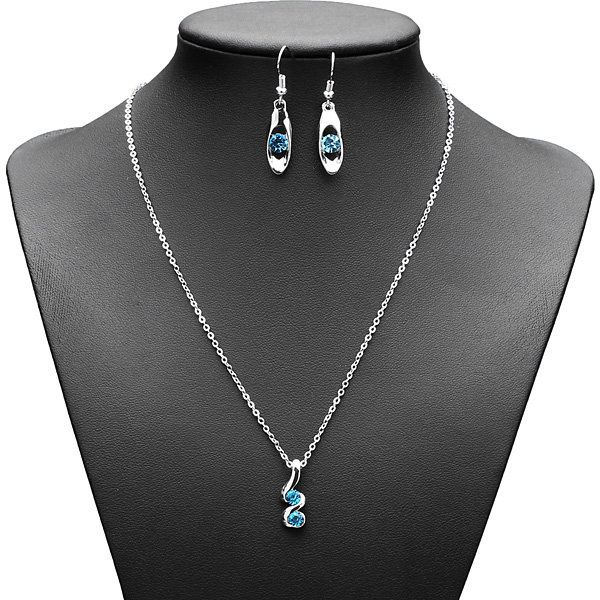 Spiral Crystal Wedding Necklace Earrings Jewelry Set